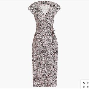 Midi wrap dress in pink leopard, Medium, NWT
